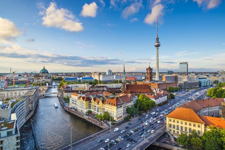 Berlin, Germany skyline over the Spree River.