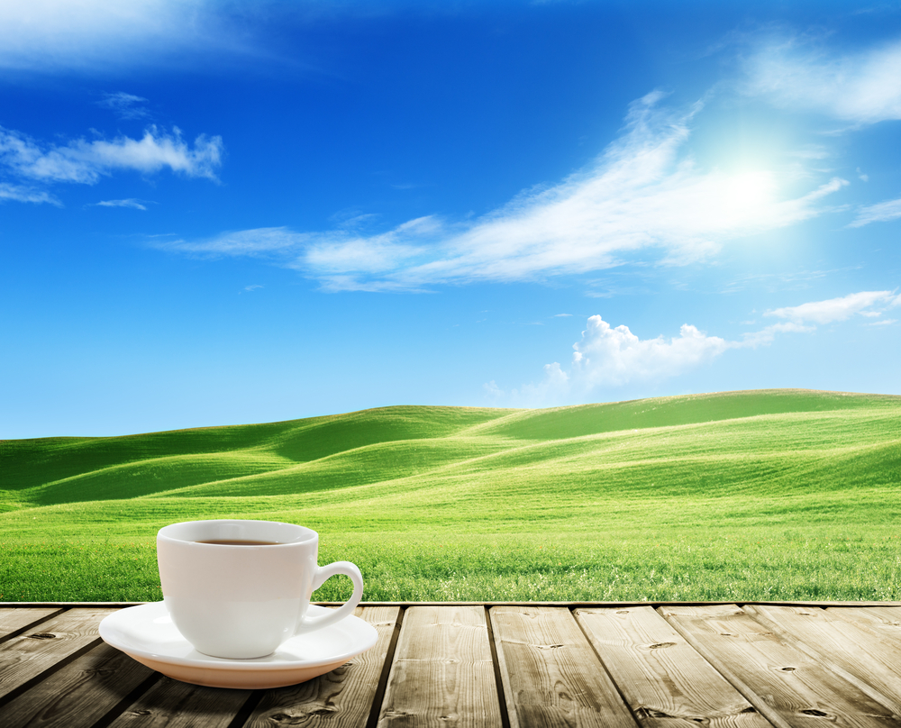 cup coffee and tuscany hills, Italy