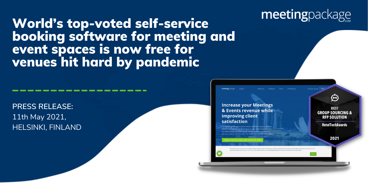 PRESS RELEASE:World's top-voted self-service booking software for meeting and event spaces is now free for venues hit hard by pandemic