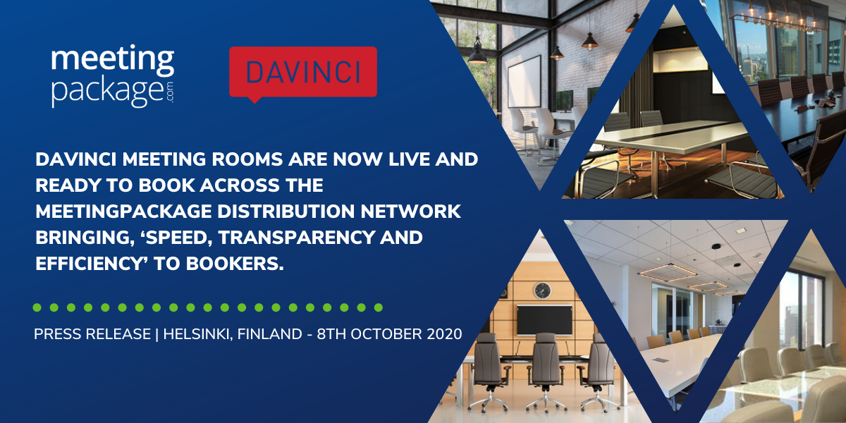Davinci Meeting Rooms are now live and ready to book across the MeetingPackage distribution network bringing, 'speed, transparency and efficiency' to bookers