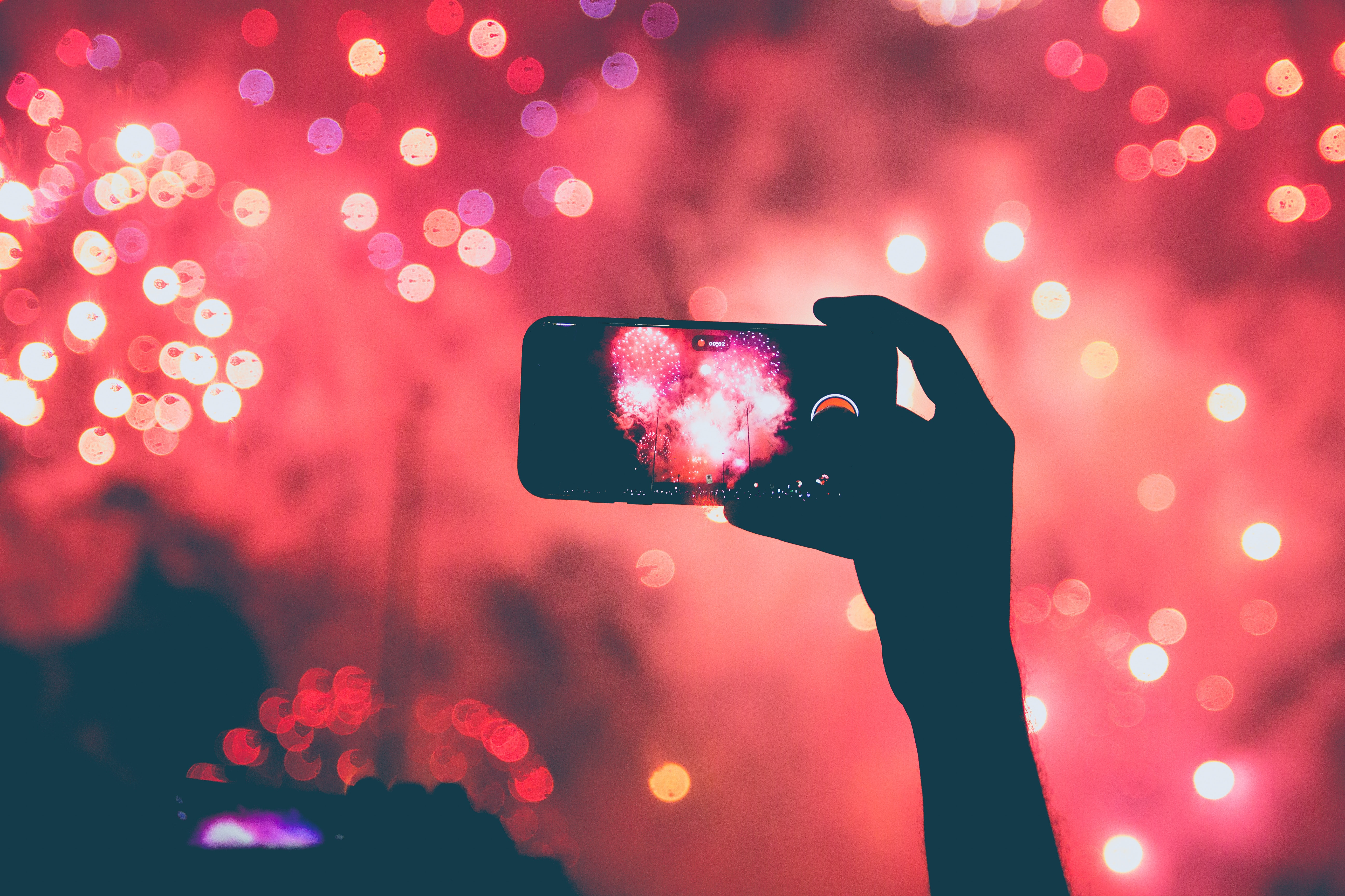 fireworks with smartphone